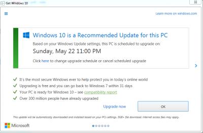 Hinweisfenster für Gratis-Upgrade auf Windows 10 soll verändert werden